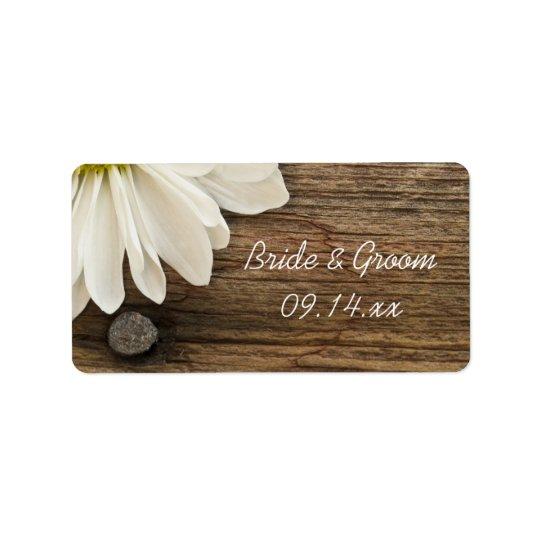 Étiquette en bois de faveur de mariage campagnard