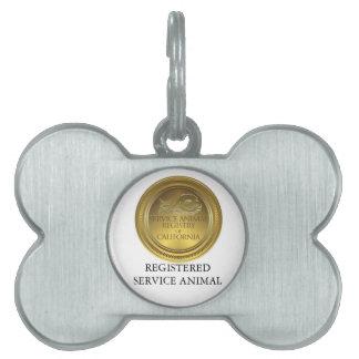 Étiquette enregistrée d'animal de service médaillons pour animaux domestiques