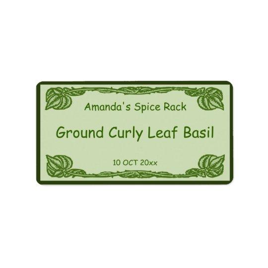 Étiquette Épice feuillue verte de vignes ou pot de mise en b