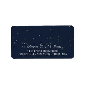 Étiquette Épouser élégant d'étoiles filantes de marine et
