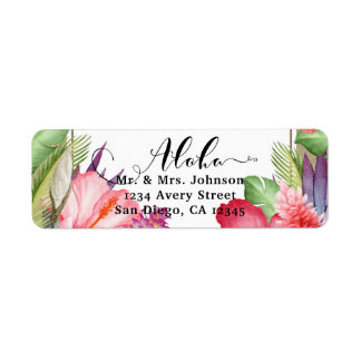 Étiquette Épouser hawaïen floral botanique tropical de
