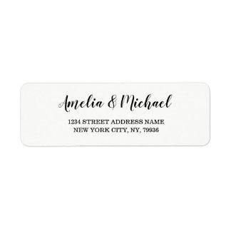 Étiquette Épouser l'étiquette de adresse élégant de retour