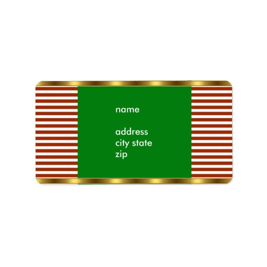 Étiquette Équilibre blanc rouge d'or de rayure d'adresse d'é