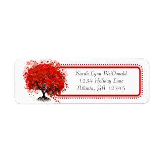 Étiquette Équilibre rouge de rose d'arbre de coeur lunatique