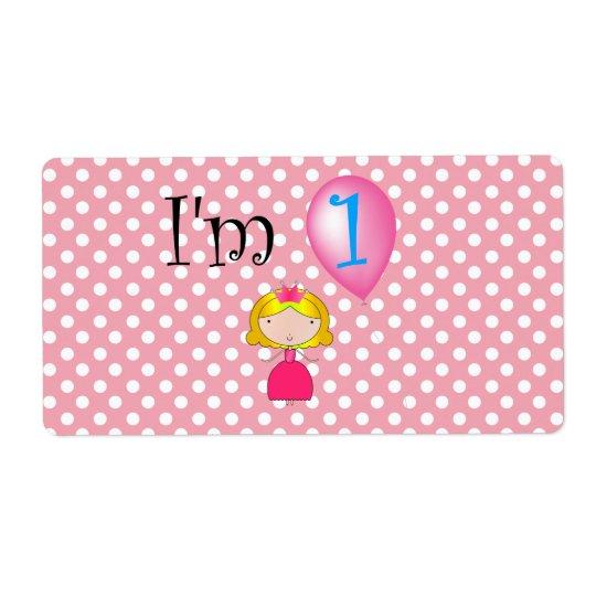Étiquette ęr Pois rose de princesse d'anniversaire