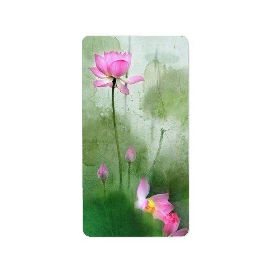 Étiquette ÉTANG LOTUS l art de peinture de brosse de Chinois