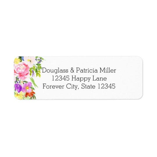 Étiquette Étincelle florale pourpre rose d'or d'aquarelle