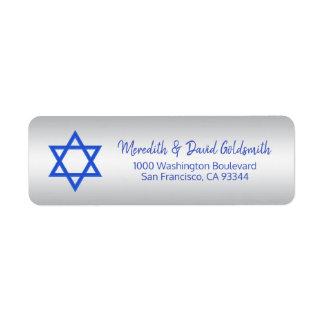Étiquette Étoile de David bleue argentée Mitzvah Hanoukka