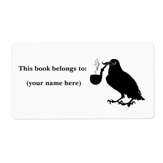 Étiquette Ex-libris de corneille de moustache, carré