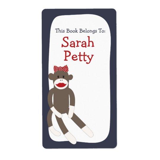 Étiquette Ex-libris de fille de singe de chaussette