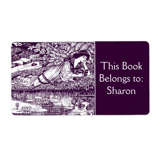 Étiquette Ex-libris de Nouveau d'art de lecture de femme