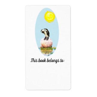 Étiquette Ex-libris faisant une sieste de pingouin au soleil