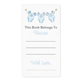 Étiquette Ex-libris mignon de baby shower - corde à linge b