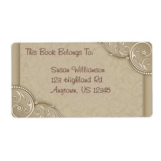 Étiquette Ex-libris ou adresse élégant