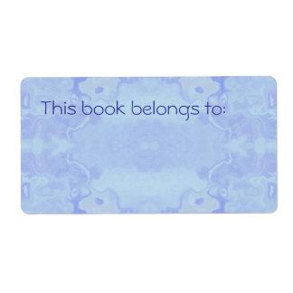 Étiquette Ex-libris simple abstrait bleu-clair