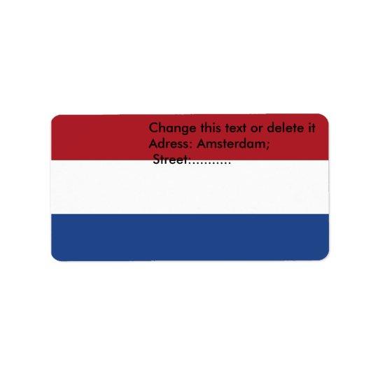 Étiquette fait sur commande avec le drapeau de