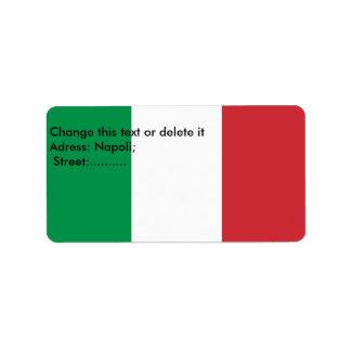 Étiquette fait sur commande avec le drapeau de étiquette d'adresse