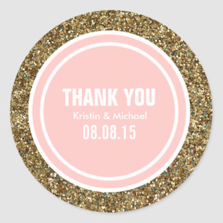 Étiquette fait sur commande de Merci de rose de Sticker Rond