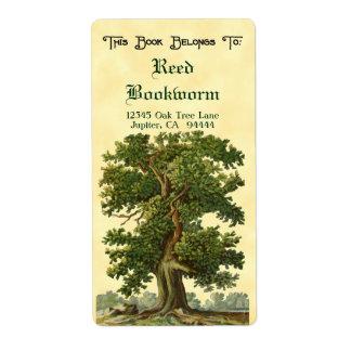 Étiquette fait sur commande d'ex-libris de chêne