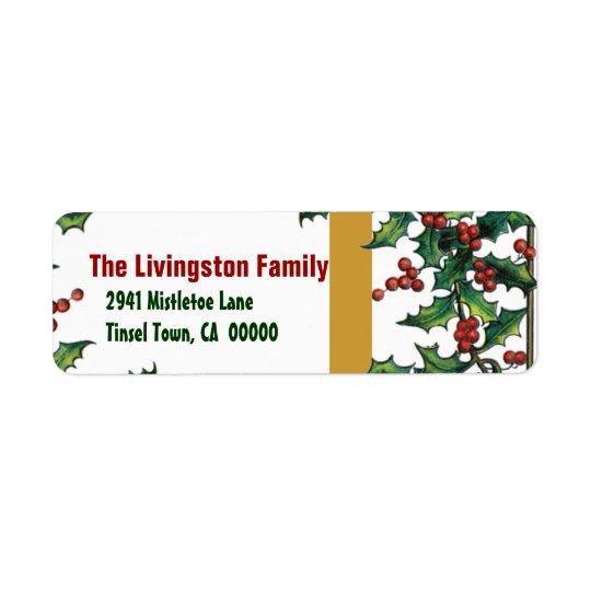 Étiquette Famille de houx rouge d'or vert de Noël vintage