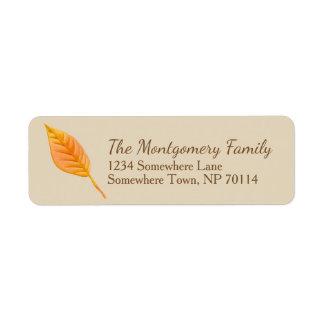 Étiquette Famille orange de feuille de récolte de chute