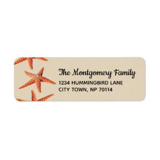 Étiquette Famille rouge côtière pour la plage d'étoiles de