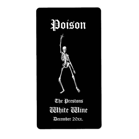 Étiquette fascinant de vin de poison de squelettes