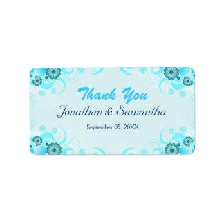 Étiquette Faveur moyenne florale turquoise bleue de mariage