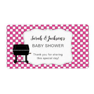 Étiquette Faveur rose de baby shower de Bébé-q ou BBQ de