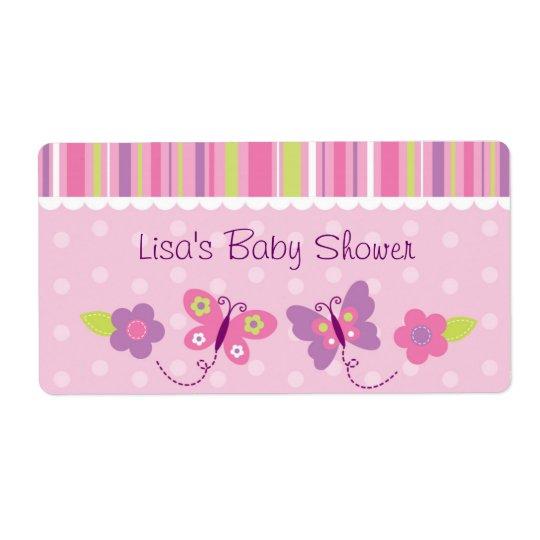 Étiquette Faveur rose de baby shower de papillon