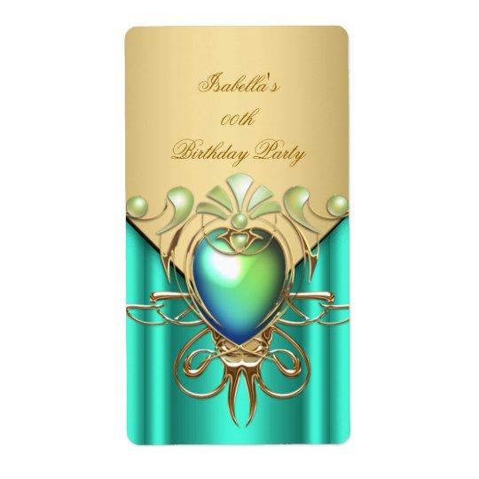 Étiquette Fête d'anniversaire élégante verte de vert de jade