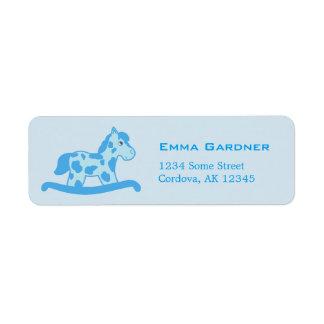 Étiquette Fête d'anniversaire nommée bleue de cheval de
