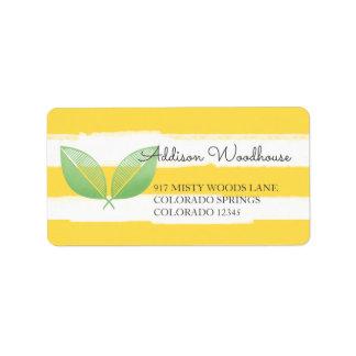 Étiquette Feuille de citron jaune et vert | personnalisé