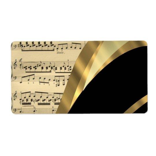 Étiquette Feuille de musique élégante