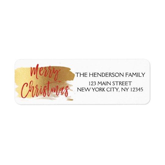 Étiquette Feuille d'or de Joyeux Noël et manuscrit rouge de