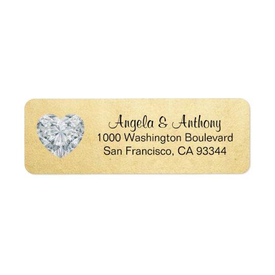 Étiquette Feuille d'or élégante chique épousant l'adresse de
