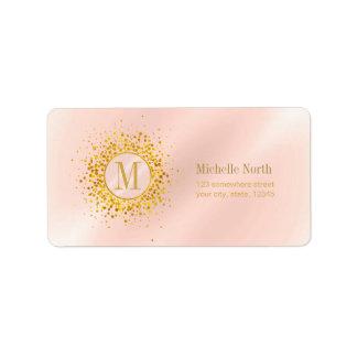 Étiquette Feuille d'or rose ID445 de monogramme de confettis