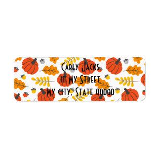 Étiquette Feuille et citrouilles d'automne