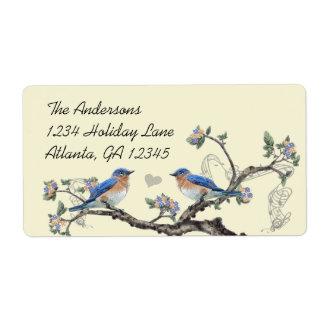 Étiquette Feutre vintage d'étiquettes d'oiseau bleu