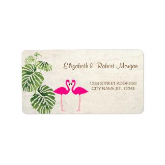 Étiquette Flamants tropicaux épousant l'étiquette
