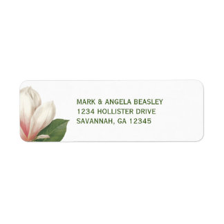 Étiquette Fleur de magnolia du sud épousant | rose et blanc