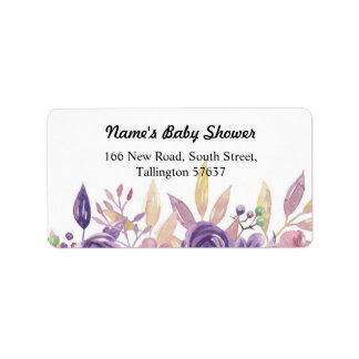 Étiquette Fleur florale de lavande de baby shower