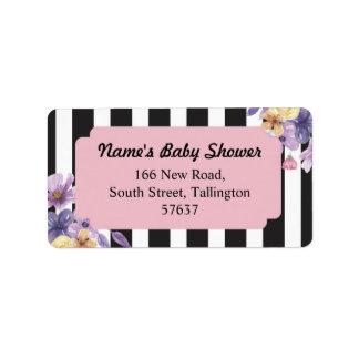 Étiquette Fleur rose de baby shower de rayure d'étiquettes