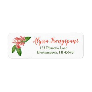 Étiquette Fleur rouge de Plumeria d'étiquettes de adresse de