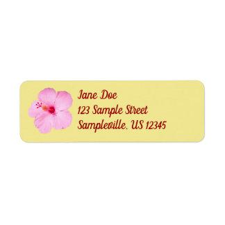 Étiquette Fleur tropicale de ketmie rose