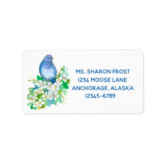 Étiquette Fleurs blanches d'aquarelle de Syringa d'oiseau