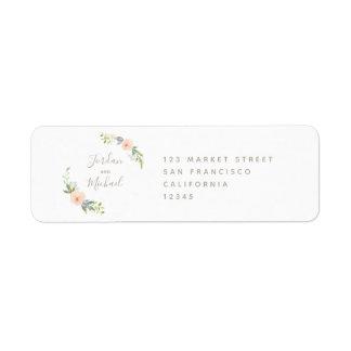 Étiquette Fleurs d'aquarelle et mariage élégant de manuscrit
