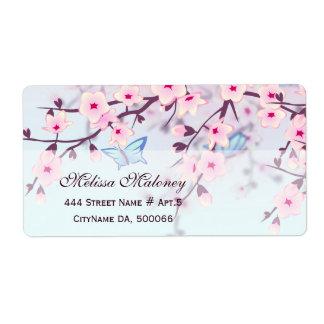 Étiquette Fleurs de cerisier et papillons