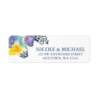 Étiquette Fleurs jaunes bleues d'aquarelle de ressort