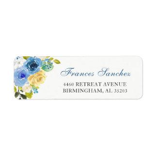 Étiquette Fleurs jaunes bleues de jardin botanique